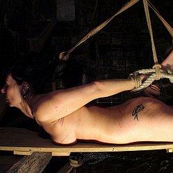 Fetish Sex : old Arina Bound on Wood!