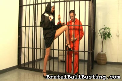 Nuns are not all nice and proper.   victim punishment panties kicking kick balls