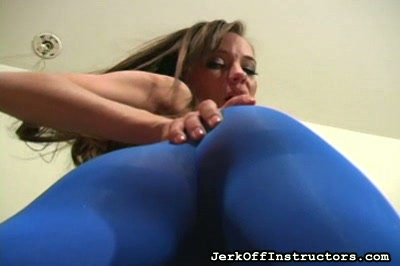 Jerk Off Instruction from Capri Anderson in Blue Pantyhose