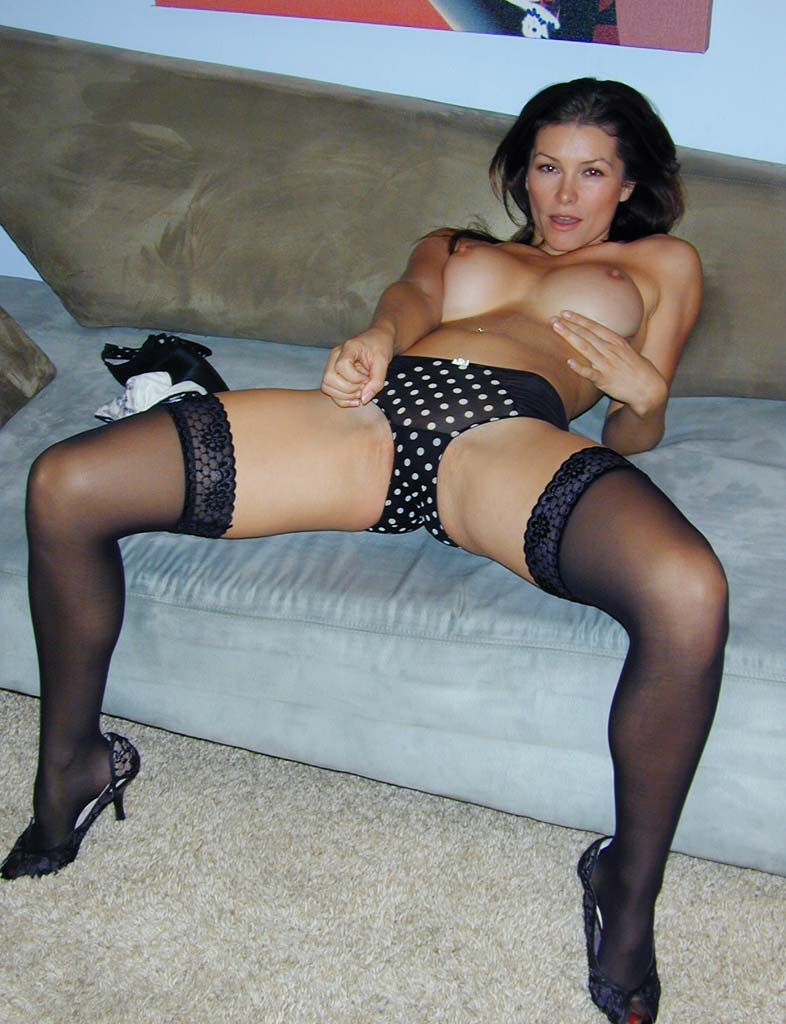 Heather's panty-tugging antics, in her poka-dot panties or her leopard pair, will have you tugging your dick even faster than she's pulling at her panties.