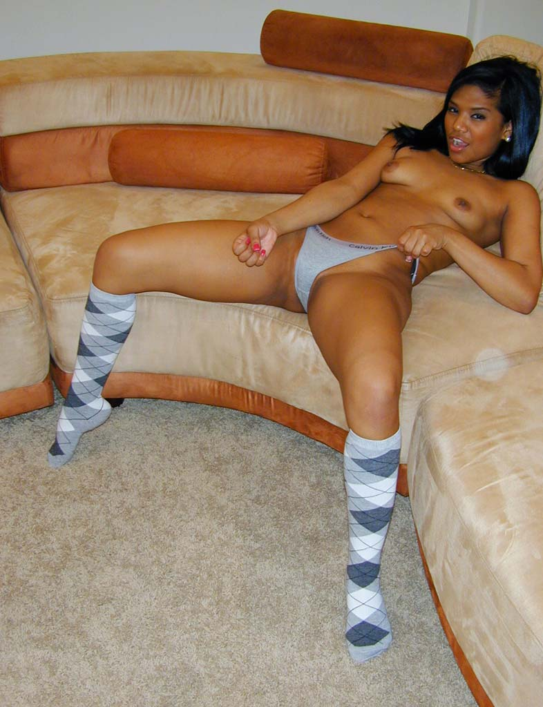 Cocoa cutie Emy in her cotton socks and cotton Calvin bikinis is out to make you cream for her.