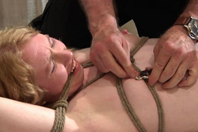 BDSM Library : Cute white haired chick loves dong bondage!