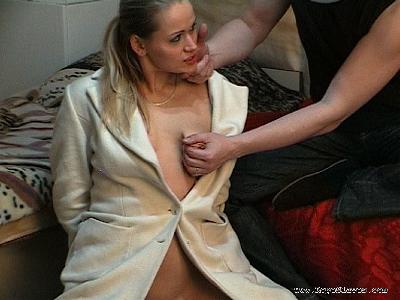 03 Forced Strip Funny   Submissive Stocking Dame Siberian Bondage